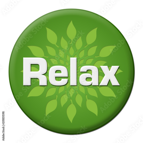 Relax Green Leaves Circle Badge Style  - 201851598