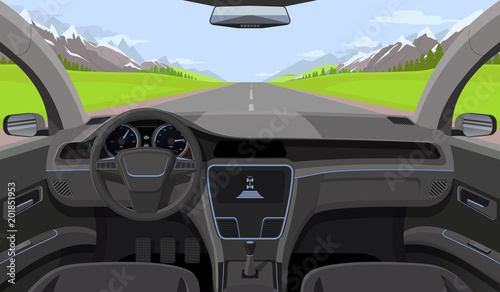 Wall mural Vehicle salon, inside car driver view with rudder, dashboard and road, landscape in windshield. Driving simulator vector illustration