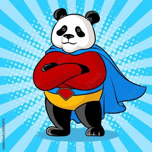 Fototapeta Panda superhero pop art vector illustration