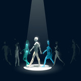 A spotlight beam pointing out an individual from a group of walking people making him stand out from the crowd. Business concept vector illustration.