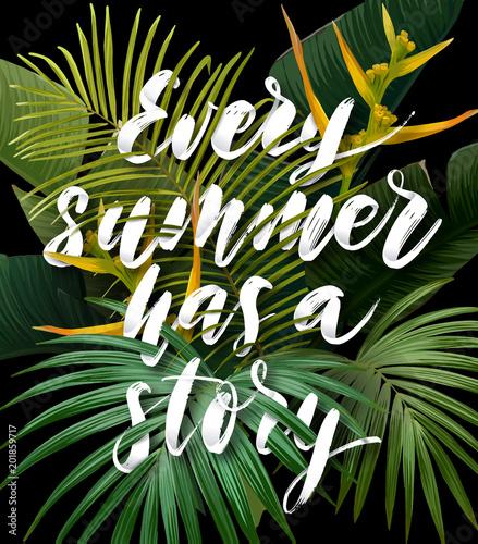lato-tropikalny-plakat-z-lisci-palmowych-sabal-i-banana-egzotyczne-kwiaty-strelitzia-i-handdrawn-zintegrowany-napis-z-efektem-3d-ilustracji-wektorowych