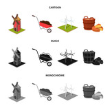 Garden, plot, ecology and other web icon in cartoon,black,monochrome style. Drink, liquid, farm icons in set collection. - 201861712