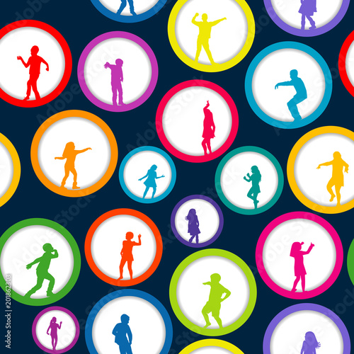 Fototapeta Seamless background with circles and children silhouettes