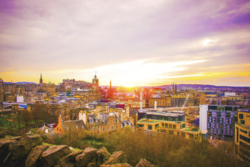 Edinburgh Building panoramic view city skyline with traditional Scottish architecture at sun set
