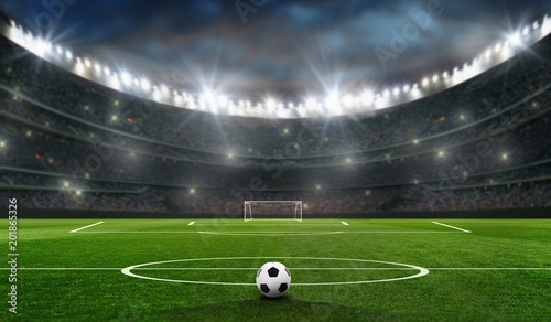 Leinwanddruck Bild fußballfeld mit fussballtor