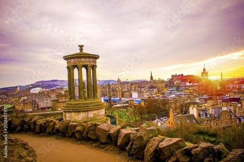 Foto Murales Nelson Monument on Calton hill Edinburgh Scotland at sun set with the Edinburgh Castle in background