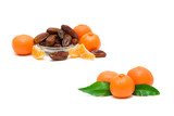 tangerines and dates closeup on a white background