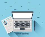laptop with curriculum vitae vector illustration design - 201873307