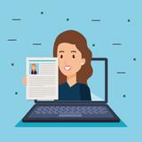 laptop with curriculum vitae of businesswoman vector illustration design - 201873333
