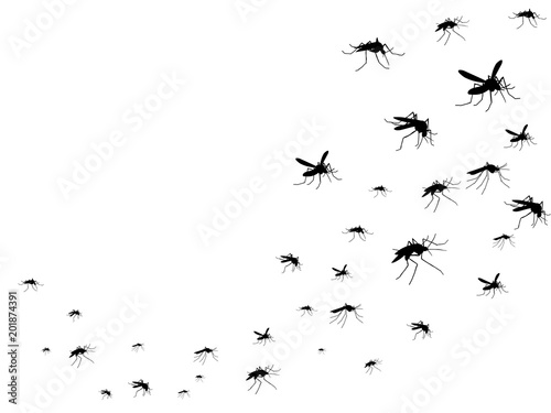 Flying mosquitoes black silhouette isolated. Insect flock in air. Viruses and diseases spreading medical vector concept - 201874391