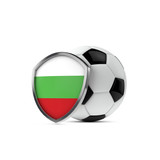 Bulgaria national flag shield with a soccer ball. 3D Rendering - 201876168