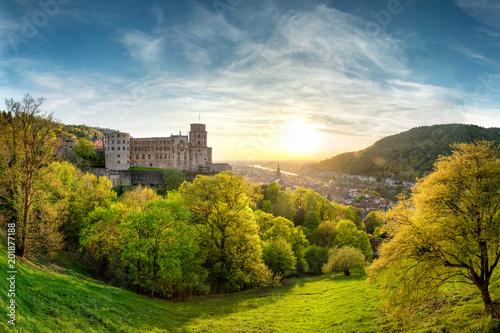 Foto Murales Heidelberg im Frühling mit Schloss und Altstadt, Baden-Württemberg, Deutschland
