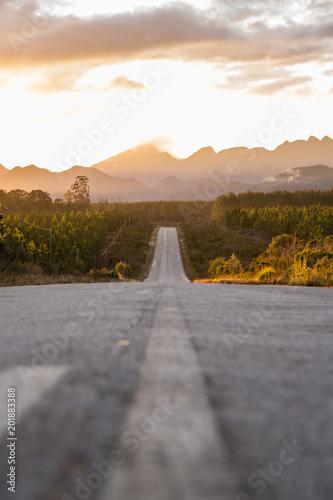 Plexiglas Zalm Road in to the sunset.