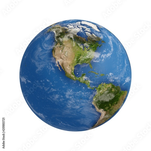 3D Rendering Planet Earth isolated on white