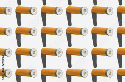 Pattern. Ammunition for shotgun on white background. Group of objects. Creative style. - 201887150