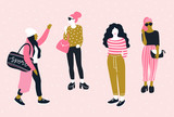 Fashionable young women in casual style.  Vector hand drawn stylish set with pretty girls. Trendy bright design. - 201891731