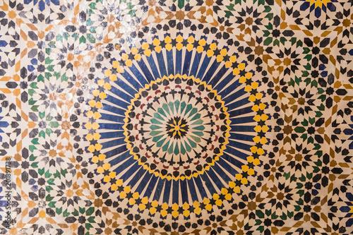 Foto Murales Historisches Mosaik in einer kasbah in Marokko