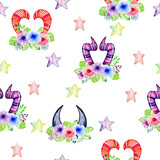 watercolor cute colorful monster horns with flowers. Seamless pattern - 201895325