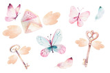 Watercolor colorful butterflies, isolated on white background. blue, yellow, pink and red butterfly illustration. - 201897374