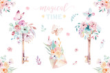 Isolated cute watercolor unicorn keys clipart with flowers. Nursery unicorns key illustration. Princess rainbow poster. pink magical poster - 201898724
