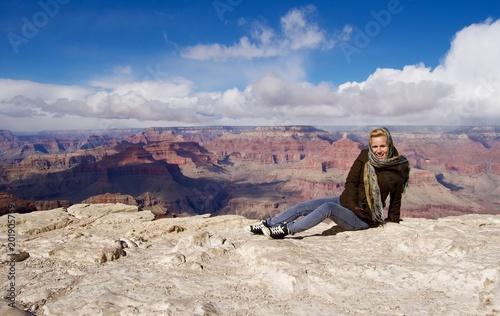 Happy Blonde Woman at Grand Canyon - Arizona, USA - 201905759