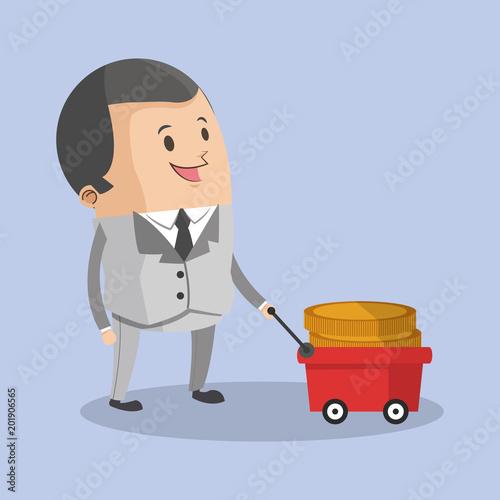 Businessman with money on little cart cartoon vector illustration graphic design