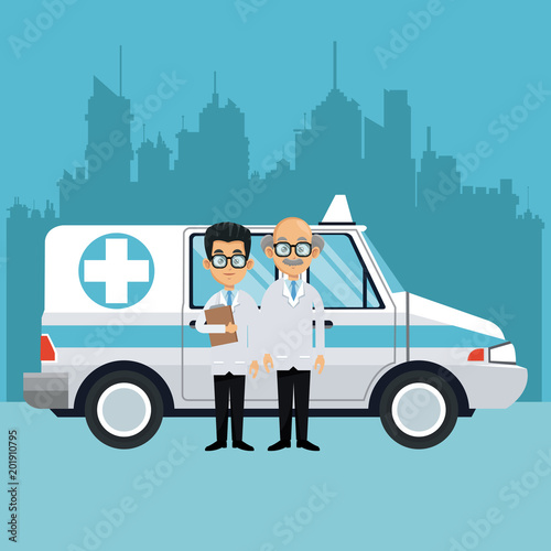 Sticker Doctors with ambulance at city vector illustration graphic design