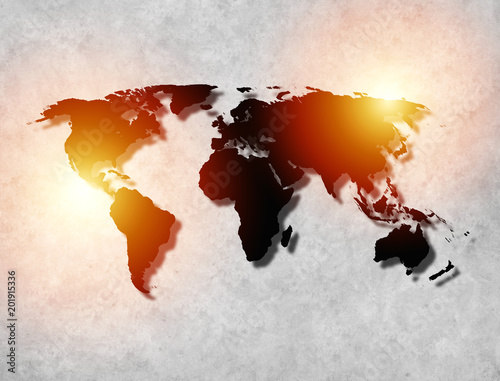 Foto Murales Abstract World Map background with texture