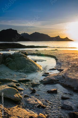 Plexiglas Strand Iles Lofoten, Norvège