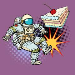 Astronaut kicks a piece of cake