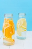 Orange and lemon detox water. Selective focus