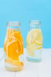 Orange and lemon detox water. Selective focus