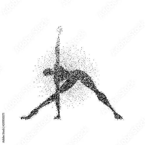 Obraz na płótnie Man yoga pose silhouette in particle splash art