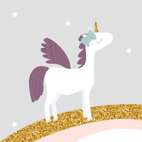 Cute little pegasus with bow and gold glitter elements. Vector hand drawn illustration. - 201934159