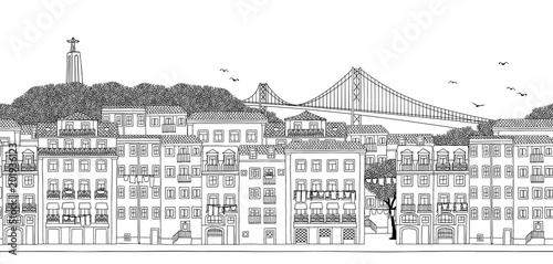 Lisbon, Portugal - Seamless banner of the city's skyline, hand drawn black and white illustration