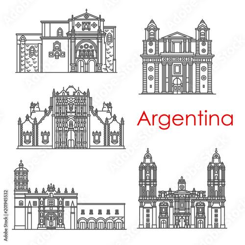 Sticker Argentina landmarks architecture vector line icons