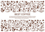 Fototapety Vector coffeehouse cafe poster of coffee cups