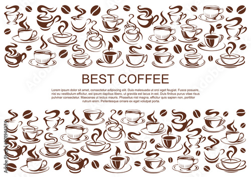 Wall mural Vector coffeehouse cafe poster of coffee cups