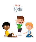 little boys happy characters vector illustration design - 201950787