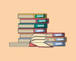 school objects design with stack of books over orange background, colorful design. vector illustration