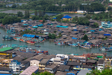 Fisherman Village. Pak Nam Chumphon. View from Khao (Hill) Matsee Viewpoint in Chumphon province, Thailand at viewpoint time