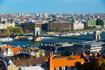 Aerial view of Budapest with Chain Bridge