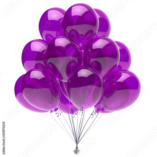 Balloon purple birthday party decoration glossy helium balloons bunch violet translucent. Happy holiday anniversary celebrate invitation greeting card background. 3d illustration