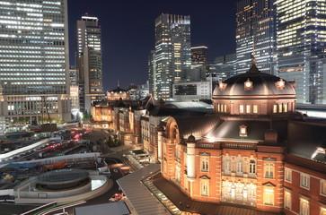 Tokyo station night cityscape