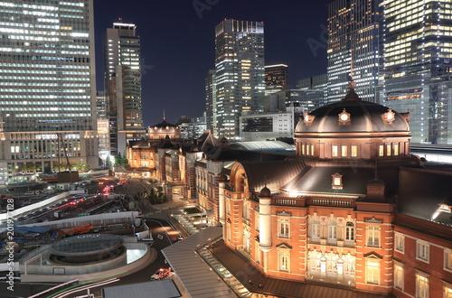 Plexiglas Tokio Tokyo station night cityscape