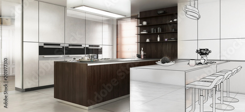 Contemporary Designed Kitchen in Design (panoramic) © 4th Life Photography