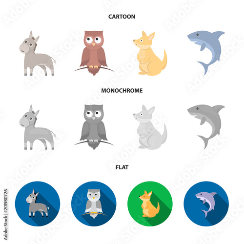Donkey, owl, kangaroo, shark.Animal set collection icons in cartoon,flat,monochrome style vector symbol stock illustration web.