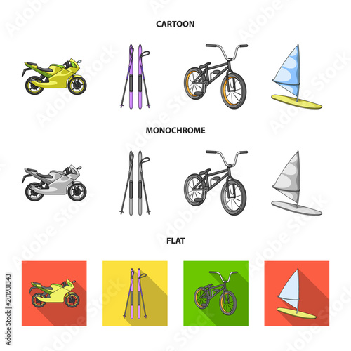Motorcycle, mountain skiing, biking, surfing with a sail.Extreme sport set collection icons in cartoon,flat,monochrome style vector symbol stock illustration web.