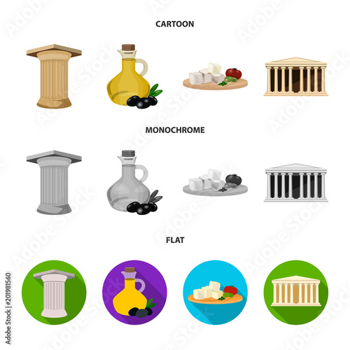 Greece, country, tradition, landmark .Greece set collection icons in cartoon,flat,monochrome style vector symbol stock illustration web.
