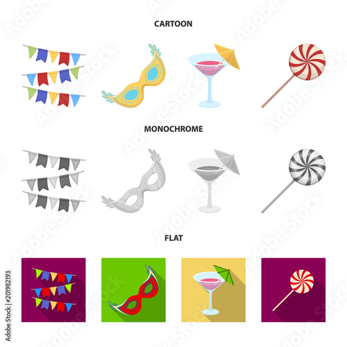 Garlands, cocktail and other accessories at the party.Party and partits set collection icons in cartoon,flat,monochrome style vector symbol stock illustration web.